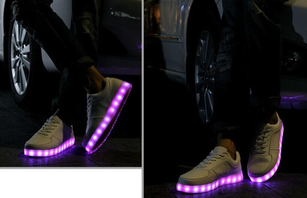 leuchtende blinkende led schuhe simulation farbwechsel sneaker wei licht rgb. Black Bedroom Furniture Sets. Home Design Ideas