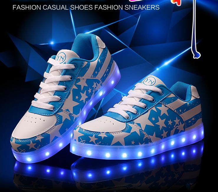 led schuhe leuchtend simulation farbwechsel sneaker tanzschuhe blau weiss ebay. Black Bedroom Furniture Sets. Home Design Ideas